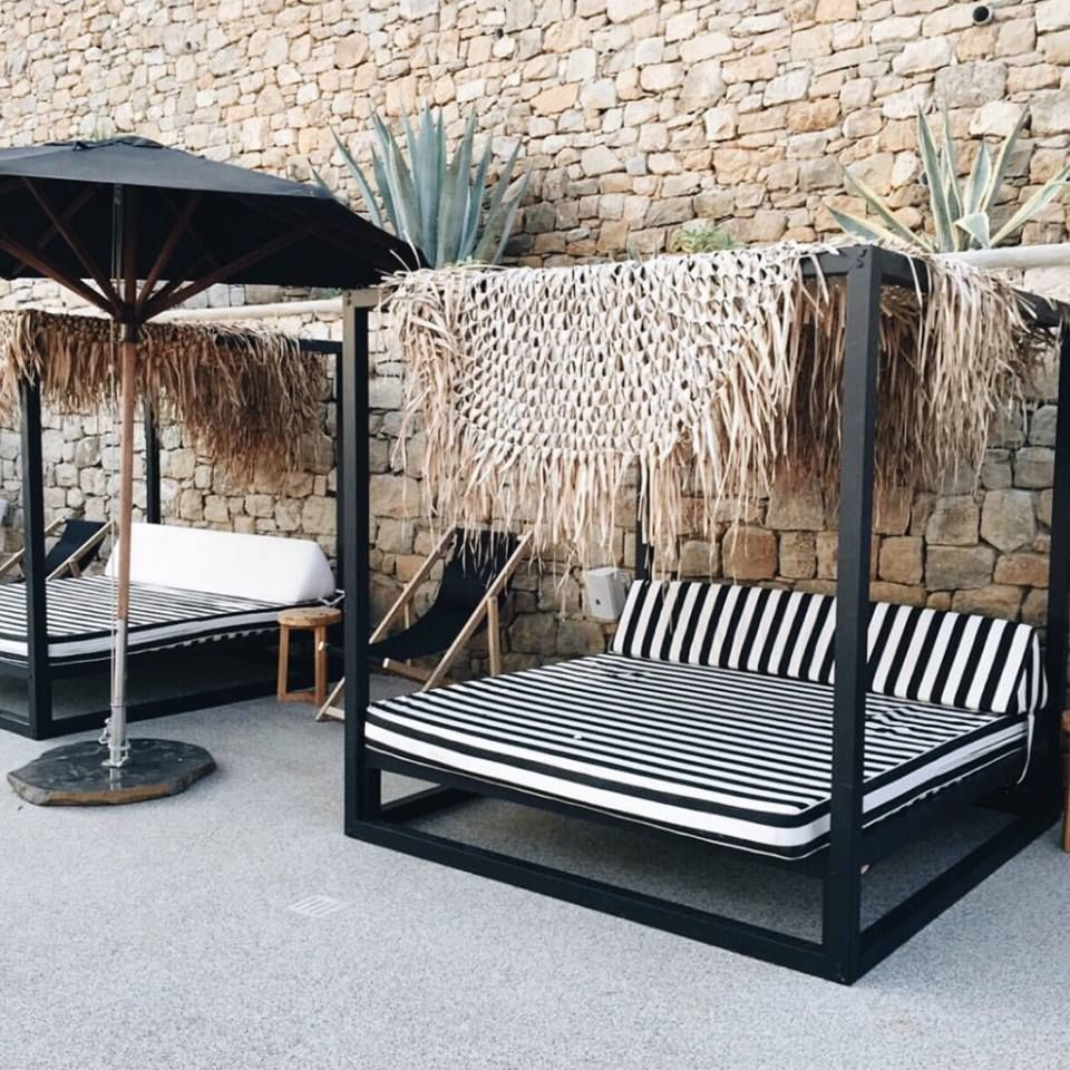 Outdoor Bed Cabana - Boho black and white outdoor daybed