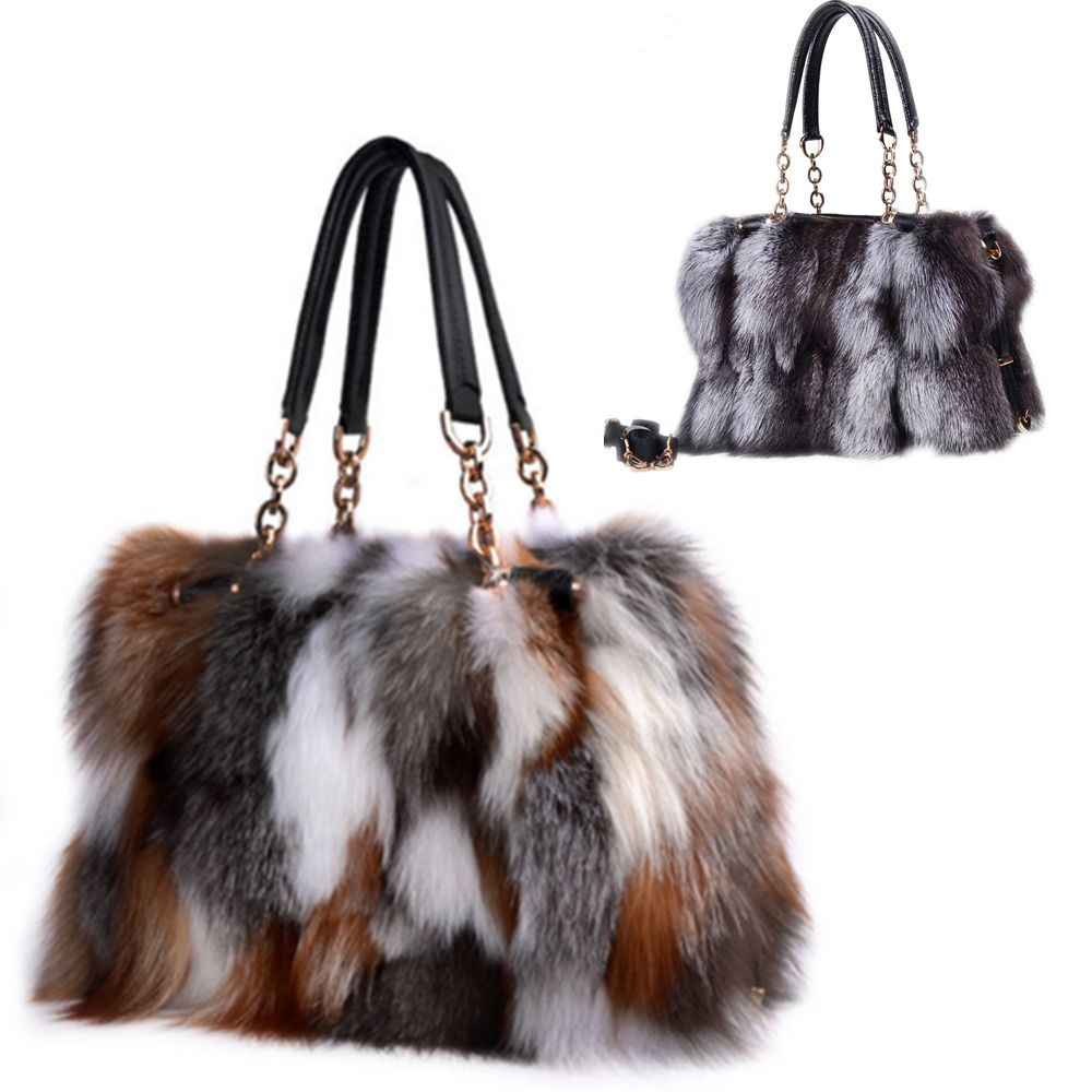 Genuine Real Fox Fur Purse Handbag Brown Crystal Silver Tote Bag