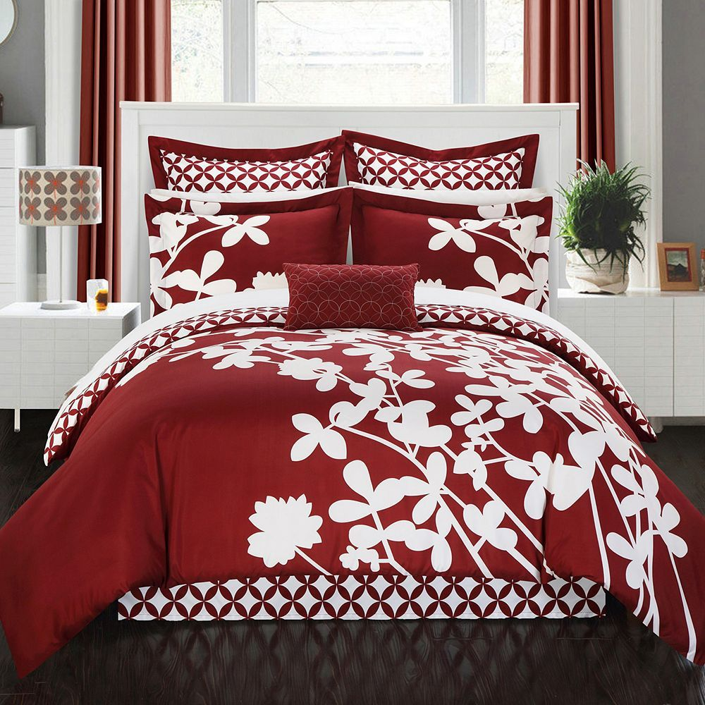 Chic home iris 7 piece bed set red