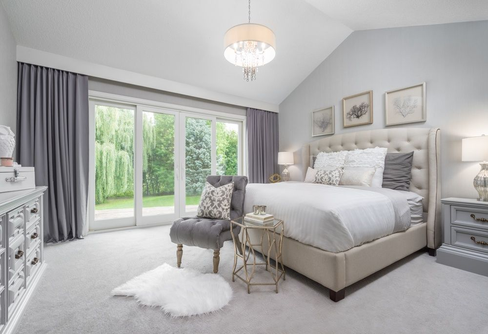 Traditional Master Bedroom With Mariabella Upholstered Panel Bed Chandelier Bottrell Tufted