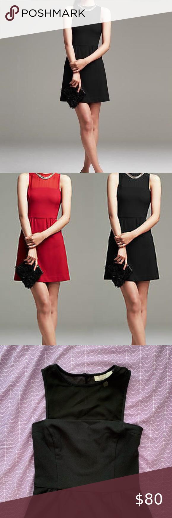 Nwot Banana Republic Sheer Inset Black Dress Black Dress Fit And Flare Dresses [ 1740 x 580 Pixel ]