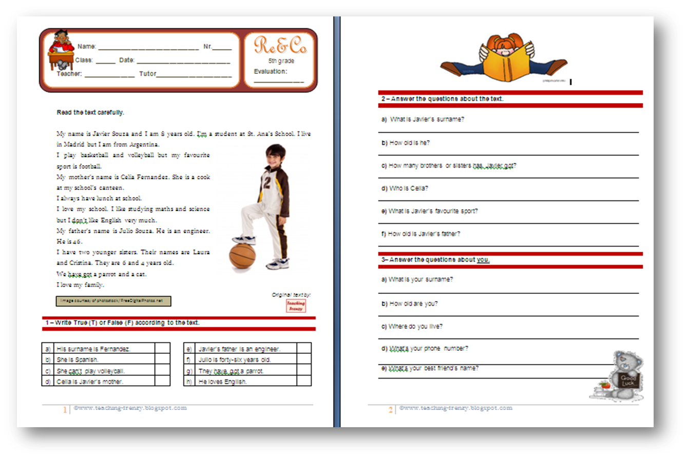 Teaching Frenzy Reading Comprehension Worksheet