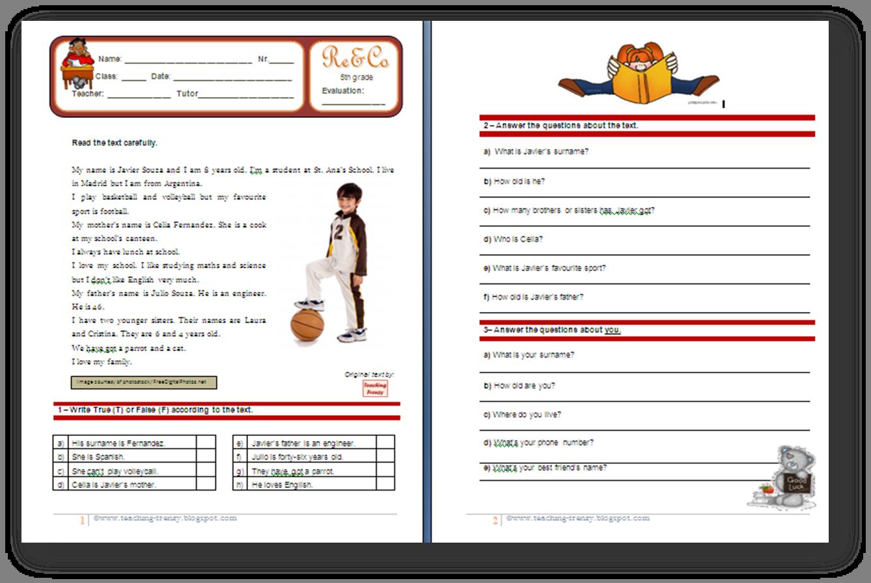 Teaching Frenzy Reading Comprehension Worksheet