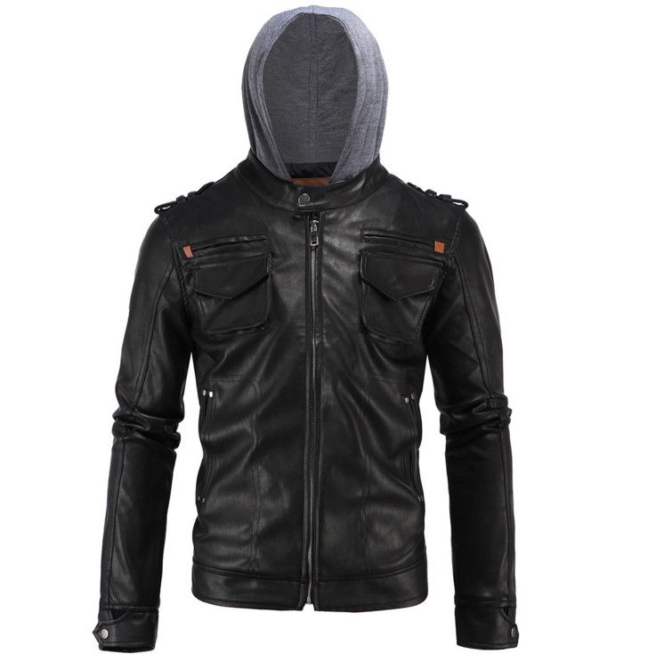 AOWOFS Newest Men hooded casual motorcycle leather jackets Autumn Simple PU leather jacket Men's Locomotive Jackets Size L-4XL #Affiliate