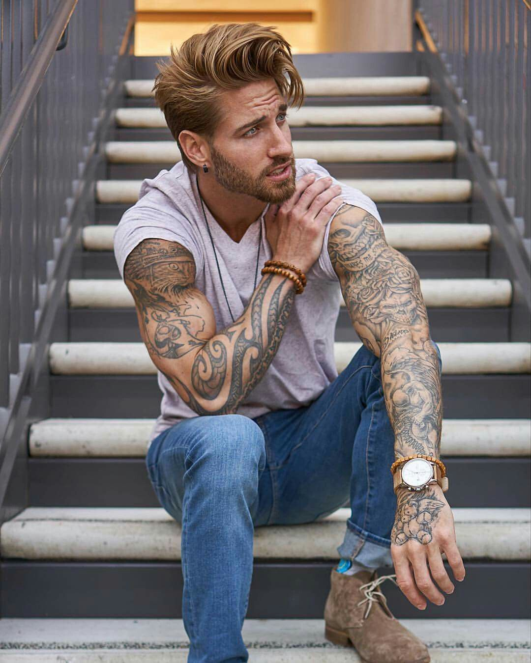 Platinum hair color boy pin by jo pollock on men with tattoos  pinterest  tattoo