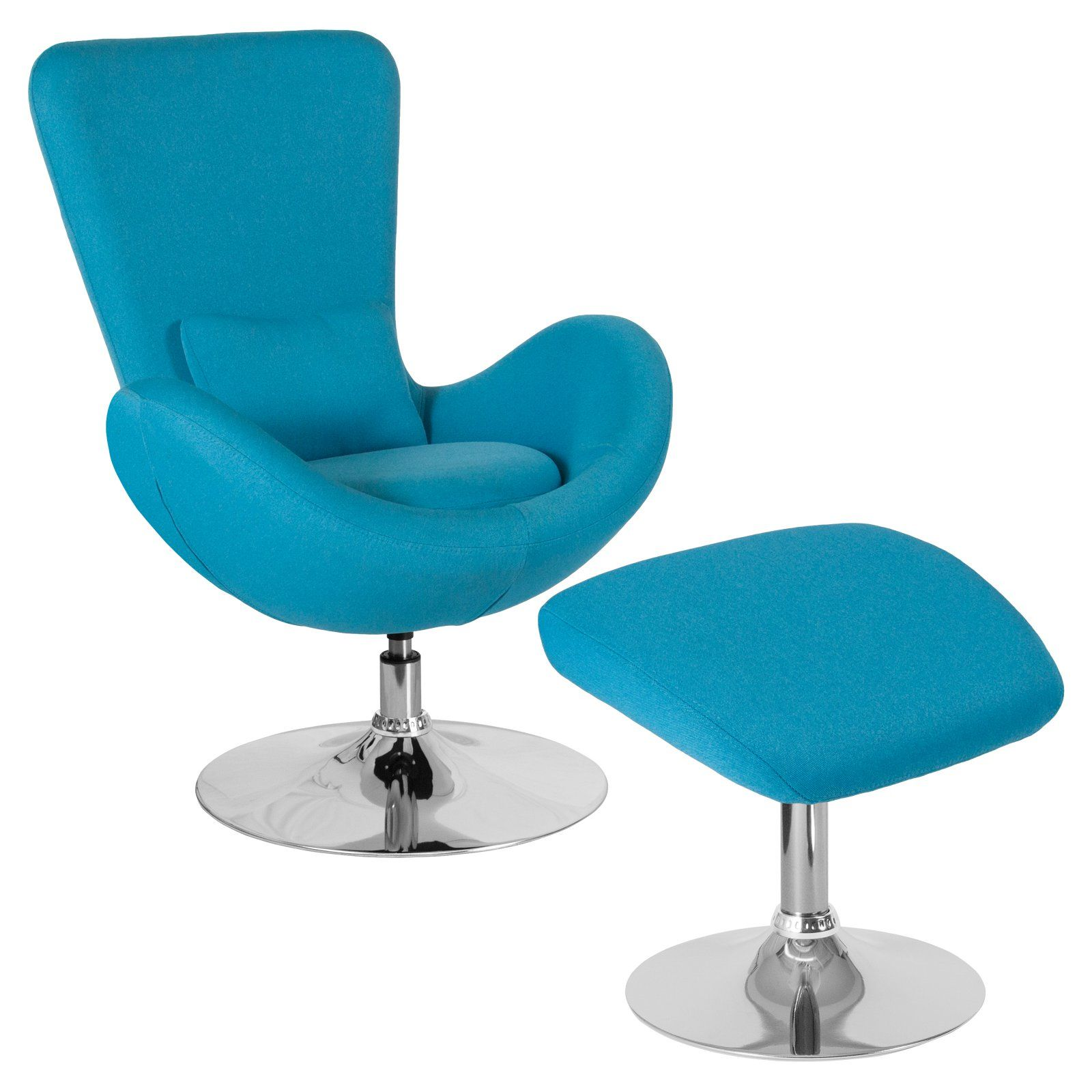 Flash Furniture Egg Series Fabric Accent Chair With Ottoman Aqua