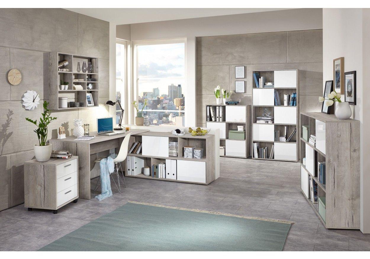 Büromöbel weiss hochglanz  Ein tolles Büromöbel Set in Sandeiche/ weiss hochglanz oder Light ...