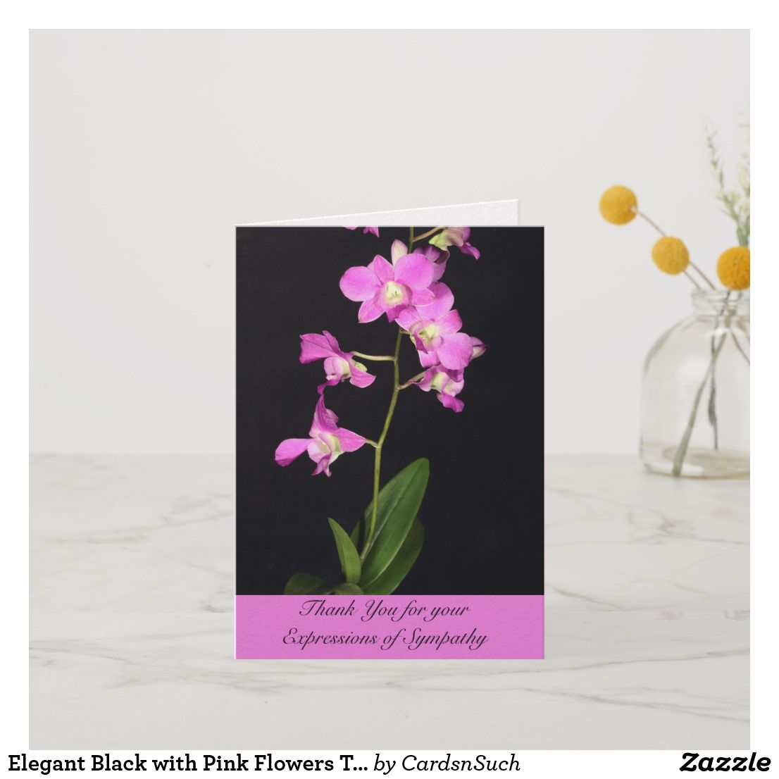 Elegant Black With Pink Flowers Thank You Card