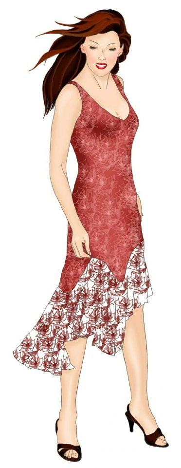 Dress With Flounce - Sewing Pattern #5463-make this dress with my shell wrapped madder dyed fabric?