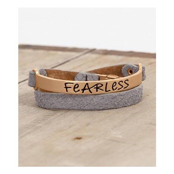 Good Work(S) Fearless Bracelet ($25) ❤ liked on Polyvore featuring jewelry, bracelets, pendant jewelry, leather bangle, studded jewelry, leather pendant and studded wrap bracelet