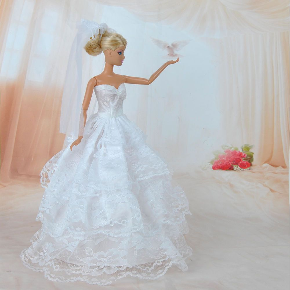Handmade Princess Wedding Party Dress Clothes Gown With Veil For ...