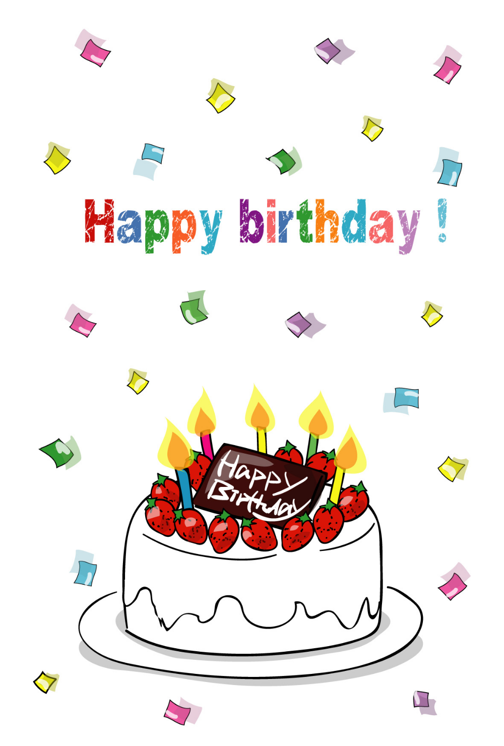誕生祝いポストカードテンプレート バースデーケーキと紙ふぶき ダウンロード かわいい無料はがき はがき絵箱 2020 誕生日 背景 バースデーケーキ イラスト 誕生日おめでとう メッセージ