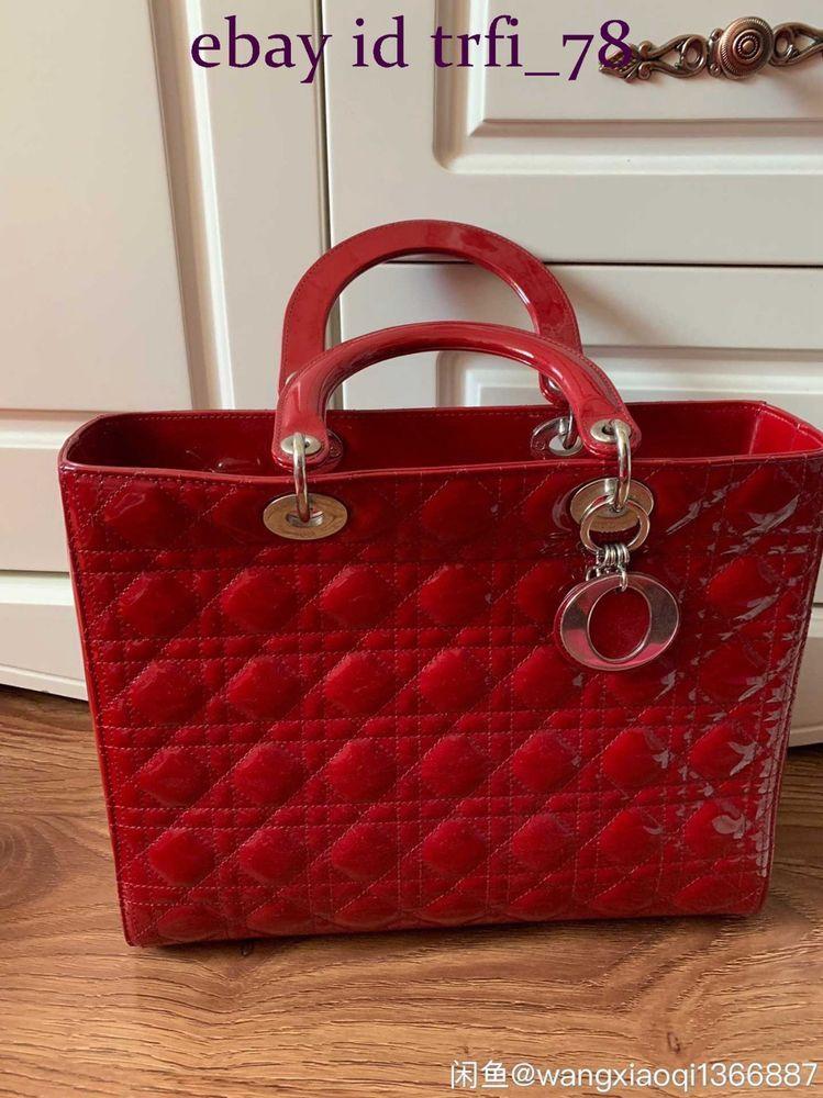 AUTH DIOR Red Cannage Quilted Lambskin Leather Medium Lady Dior Bag   fashion  clothing  shoes  accessories  womensbagshandbags (ebay link) adb39f6b97f34