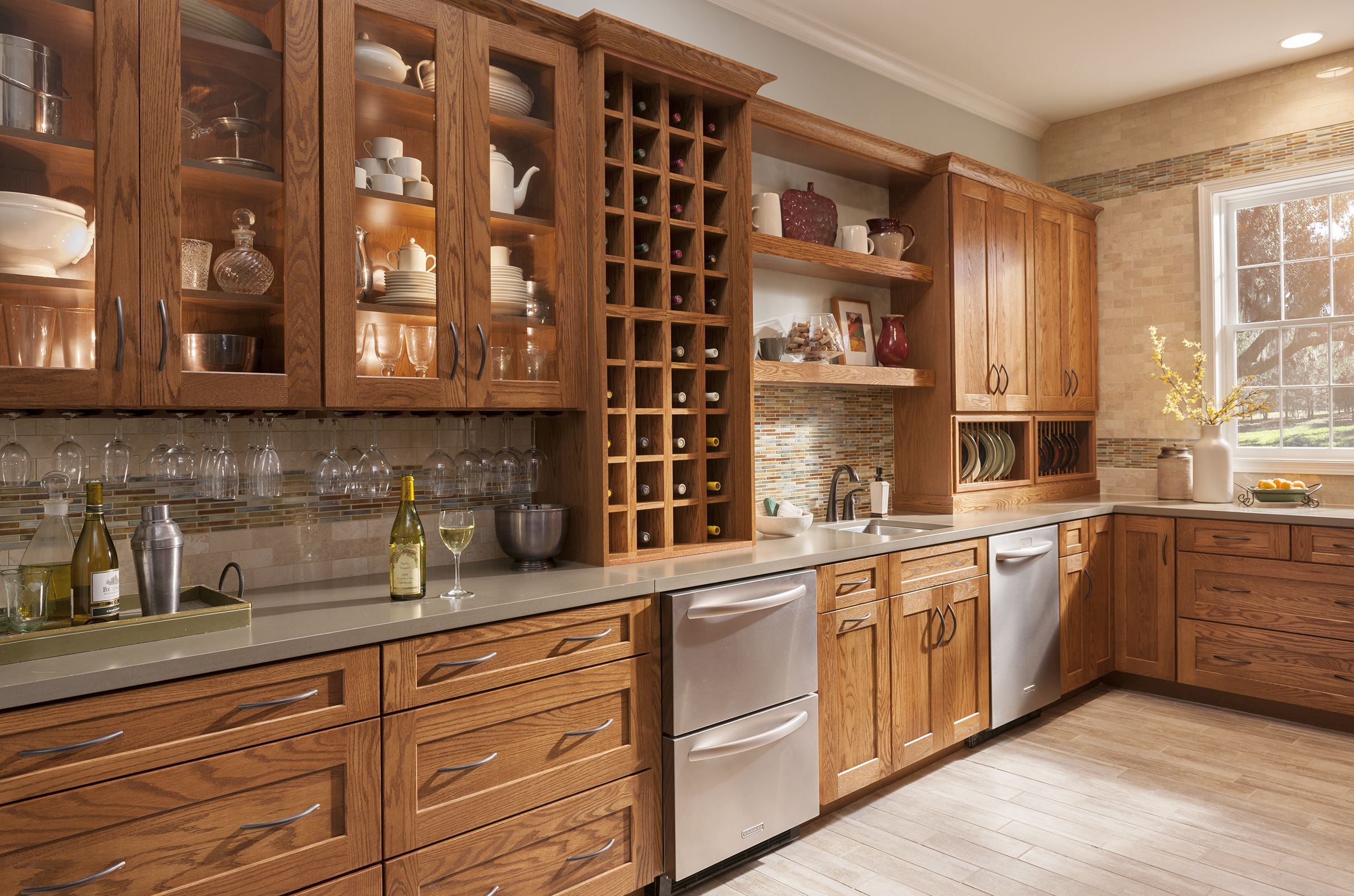American Woodmark Reading Oak Tawny Rustic Kitchen Best Kitchen