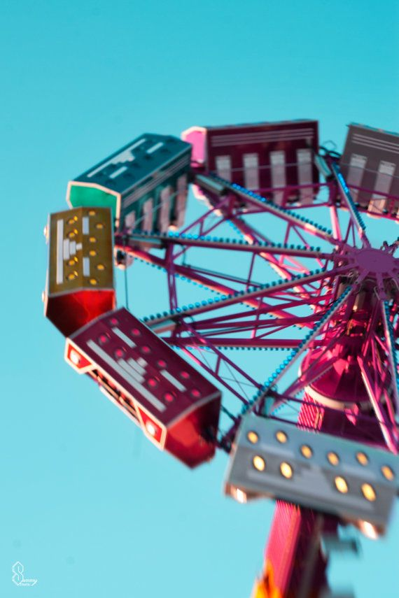 Rainbow Fair ride Fine art photography Teal PinkRed by SammyPhoto, $75.00