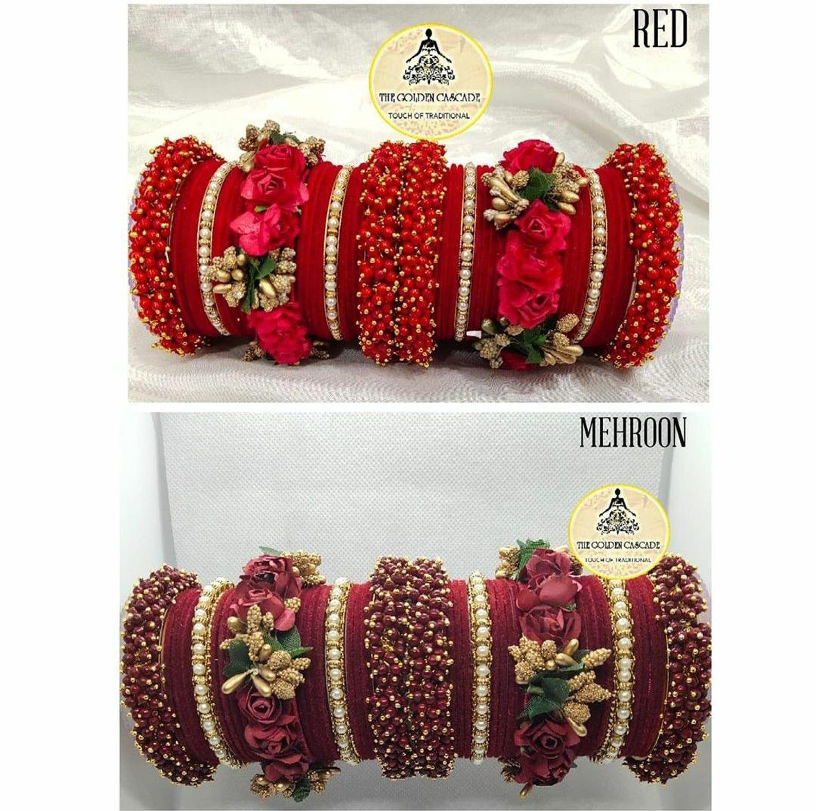 Handmade Floral Bangle Set 48 Pieces Etsy In 2020 Flower Jewelry Designs Bangle Set Thread Bangles Design