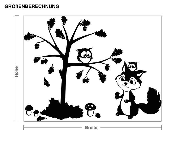 Wandtattoo Eichhörnchen und Eule Wandtattoos Tierwelt