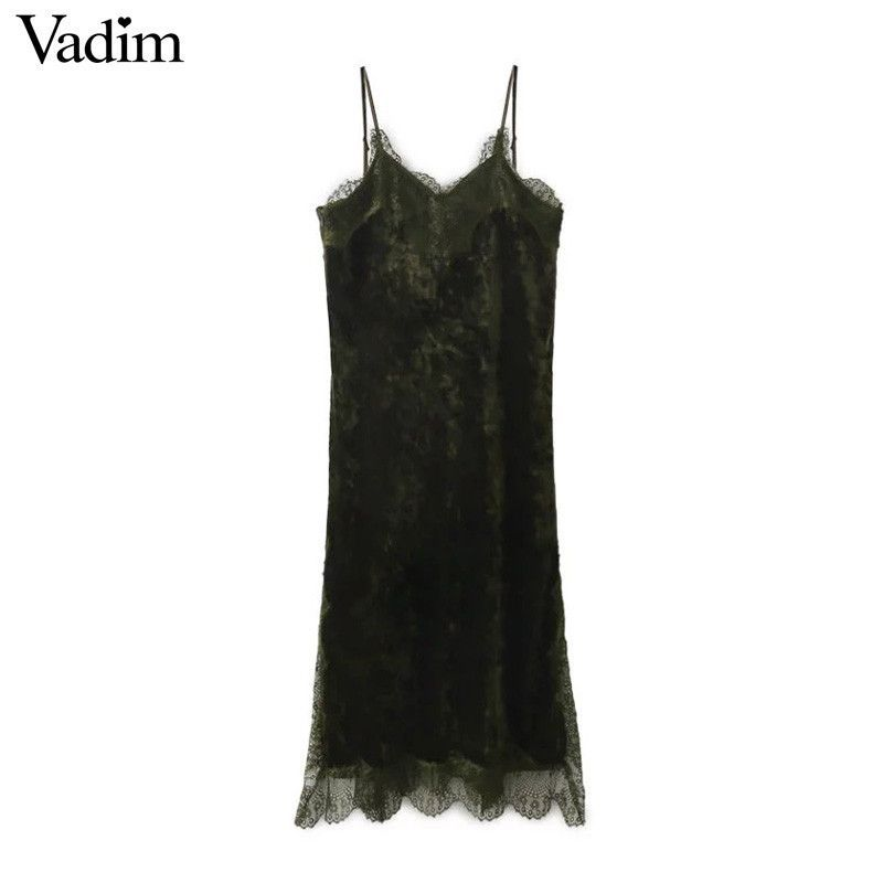 Women velvet lace patchwork v neck spaghetti strap dress female summer sexy vintage sleeveless dresses vestido
