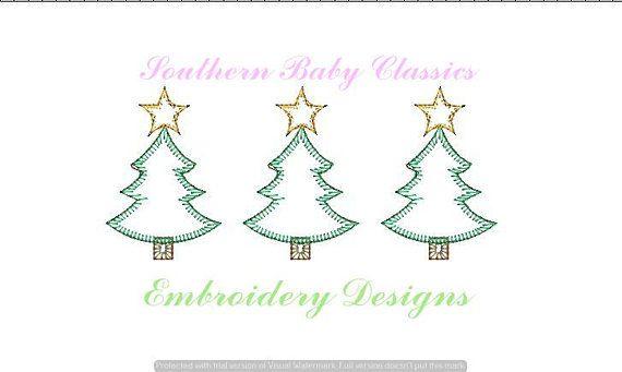 Christmas Tree Blanket Stitch Applique Trees Row Three Trio Blanket Stitch Embroidery Files Applique