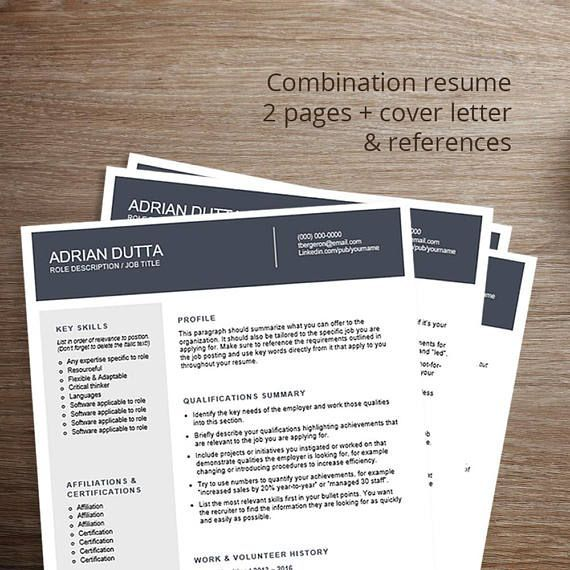 Modern resume template / cv template Combination resume, cover - professional reference