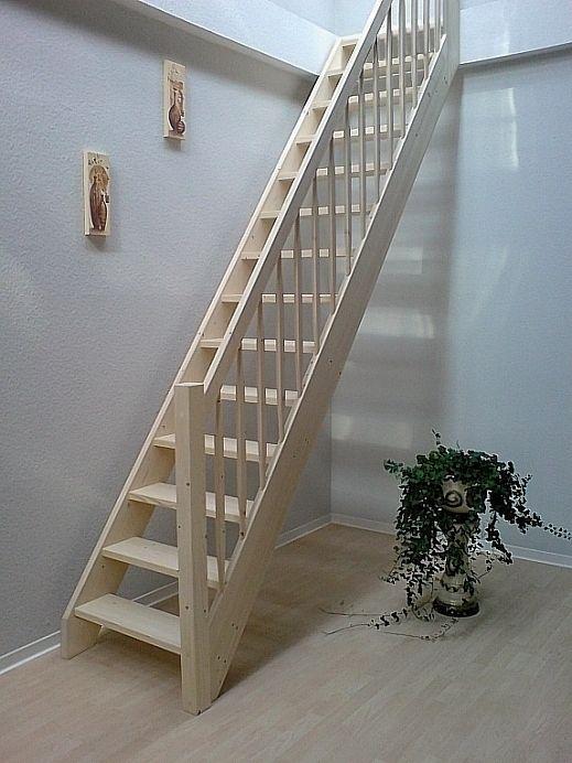 Tischlerei Treppen und Geländer,Einläufige gerade Treppe mit vollen Stufen, …