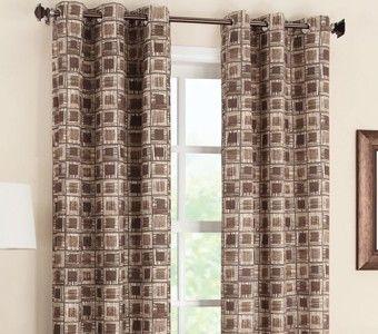 Curtain Bath Outlet Geometric Foamback Grommet Curtain Panel
