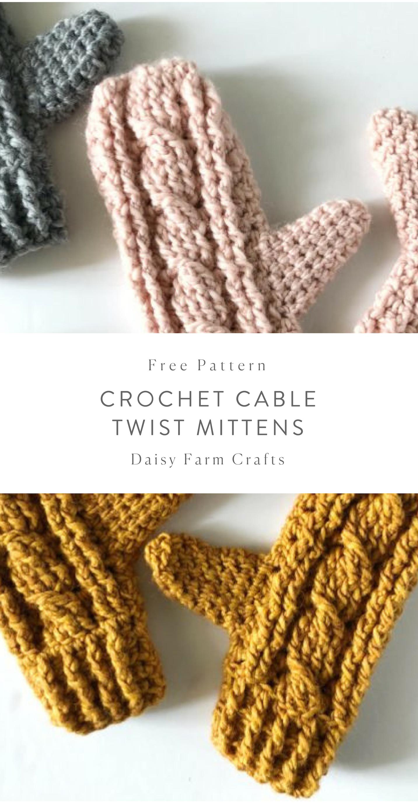 Free Pattern - Crochet Cable Twist Mittens   Crochet   Pinterest ...