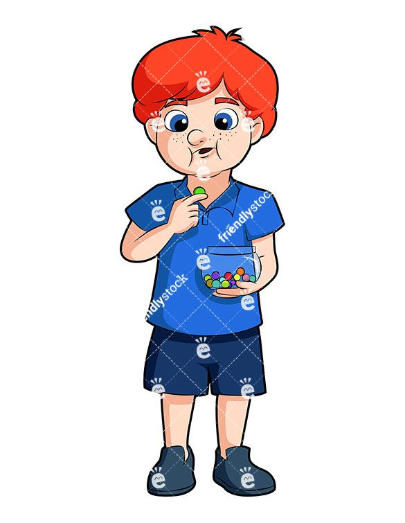 Redhead Boy Eating Chocolates Cartoon Vector Clipart Friendlystock Cartoons Vector Kids Clipart Cartoon Boy
