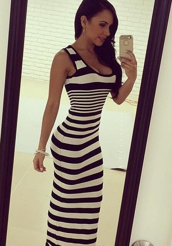 Black And White Striped Print Casual Maxi Dress