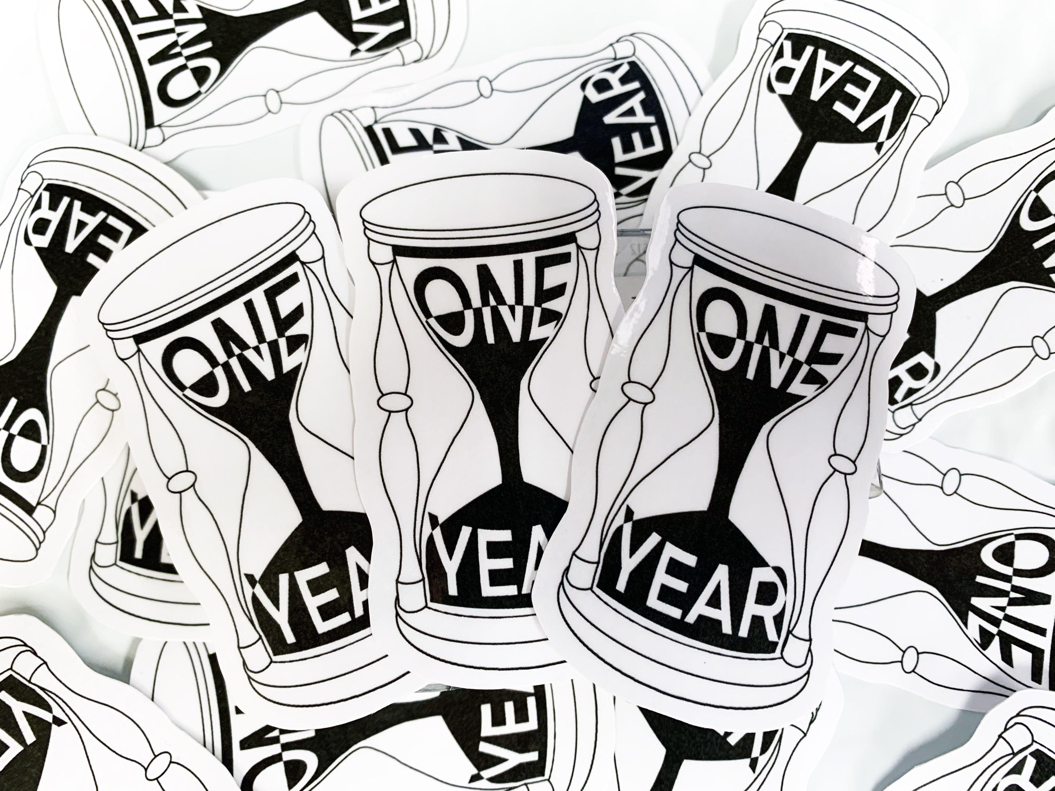 One Year Hourglass // Unus Annus Sticker