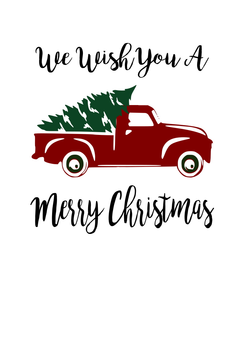 Red Truck and Tree Digital SVG file Christmas red truck