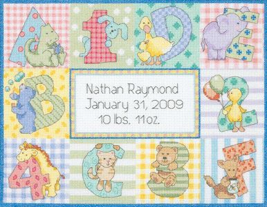 Baby Hugs Zoo Alphabet Birth Record Counted Cross Stitch Kit