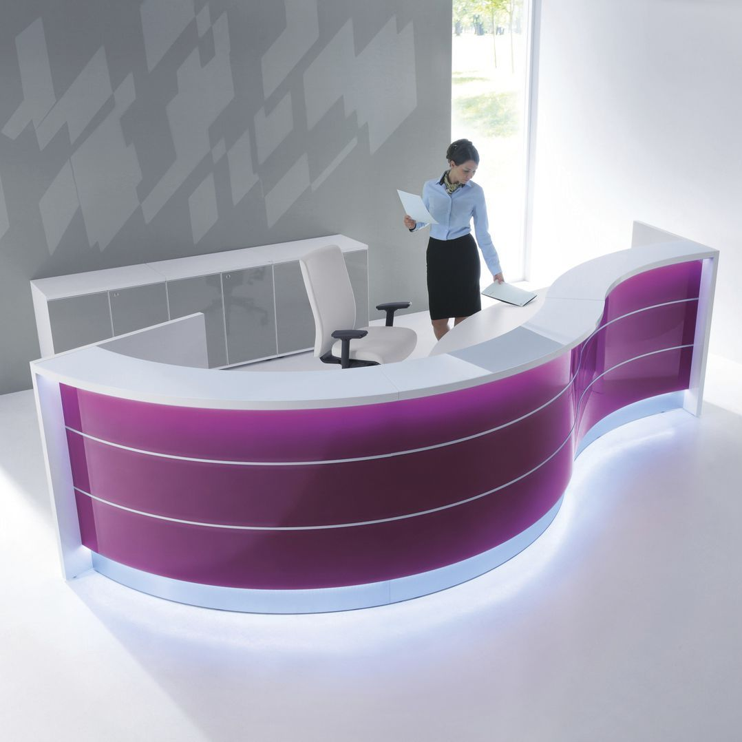 Mostrador De Recepción De Esquina En Arco De Círculo De Vidrio De Aluminio Valde Mdd Curved Reception Desk Reception Furniture Office Reception Furniture