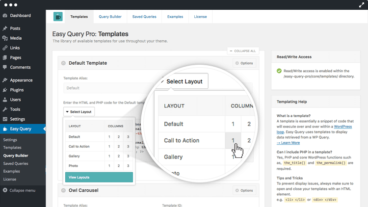 Easy Query Templates in Action Dashboard template