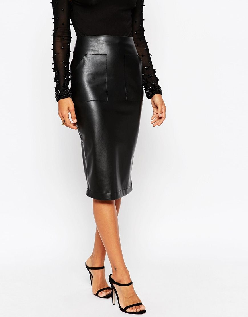 677cbc7c78 Image 4 of ASOS PU Pencil Skirt with Pocket Detail | Style like a ...