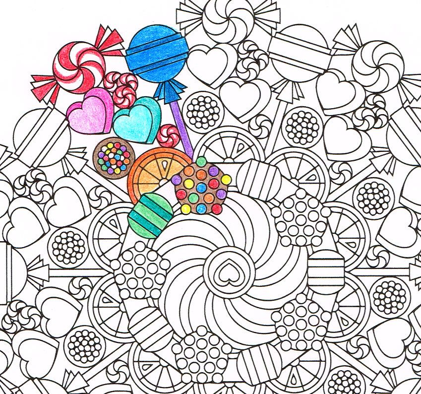 Mandala Coloring Page - Round of Sweets - printable coloring for ...