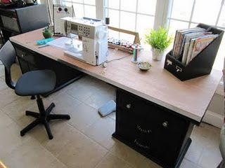 Easy Desk...two Side Tables And A Hollow Core Door. I Did