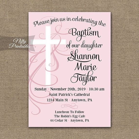Girls Baptism Invitations - Printable Pink Christening or First - sample baptismal invitation for twins