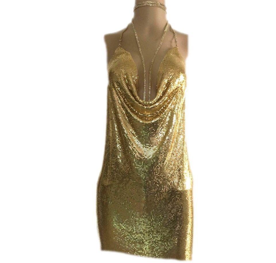 70c2ba7cc1076 Pacha Gold Metal Mesh Halter Dress