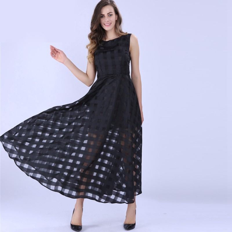 a5806f86a088 Lace maxi black dress in beautiful sheer pattern. See through dress over  mini for a sexy and stylish look. Trendy sheer lace mini dress. Stylish A- Line