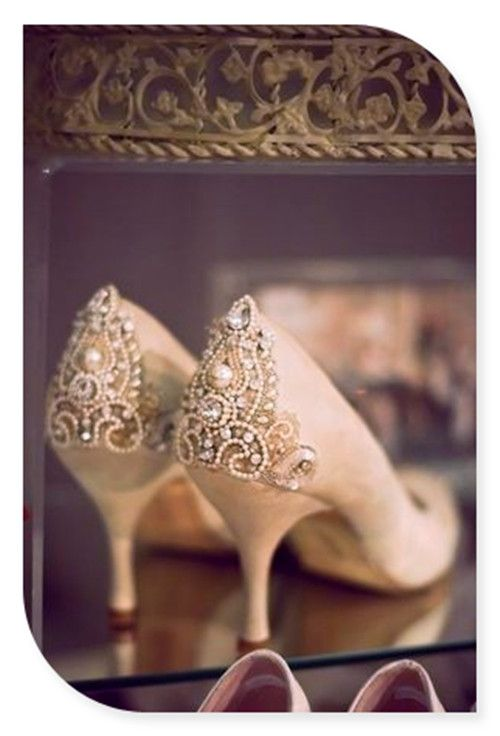 Wedding shoes love the back and small heel!!