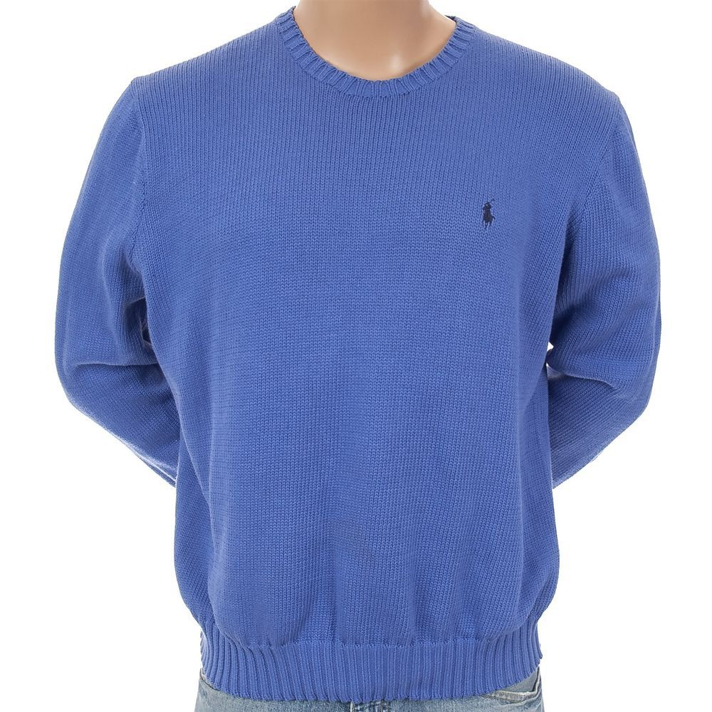 #RalphLaurenSweaterPullover Embroidered Pony Classic Ribbed Cuffs Mens XL Blue #RalphLauren #Crewneck