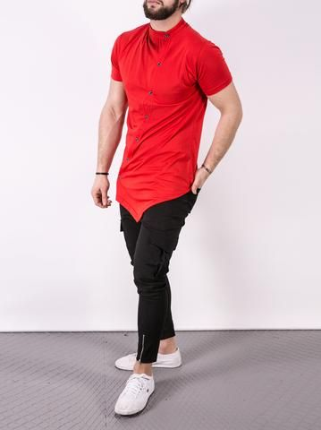 K&B Men Moved Buttons Mock Neck T-shirt - Red