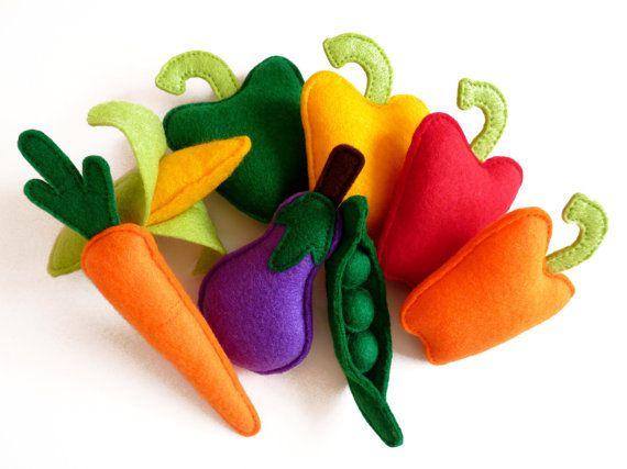 Felt Fruit and Vegetables Plush Play Set  Toy by HandmadebyKATuck, £50.00
