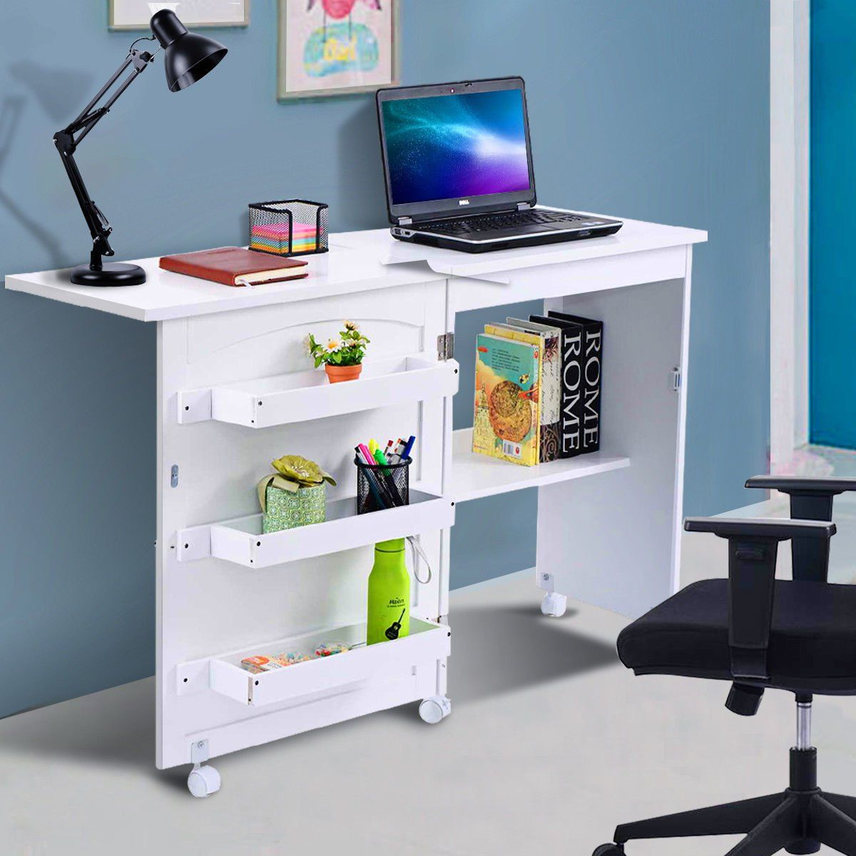 Costway White Folding Swing Craft Table Shelves Storage Cabinet Home Furniture W Wheels Walmart Com Storage Cabinet Shelves Storage Shelves Table Shelves