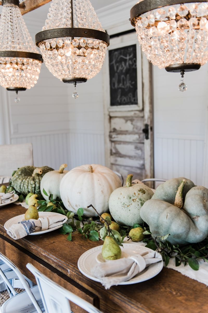 Happy Fall Rustic Pumpkin Pear Farmhouse Table