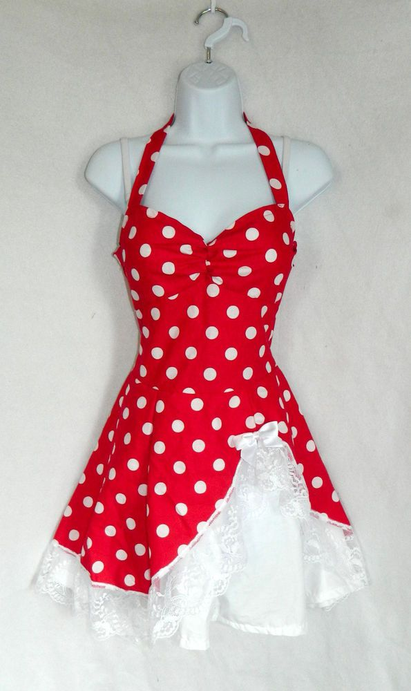 Diy red and white polka dot dress lolita cute kawaii pin up rockabilly
