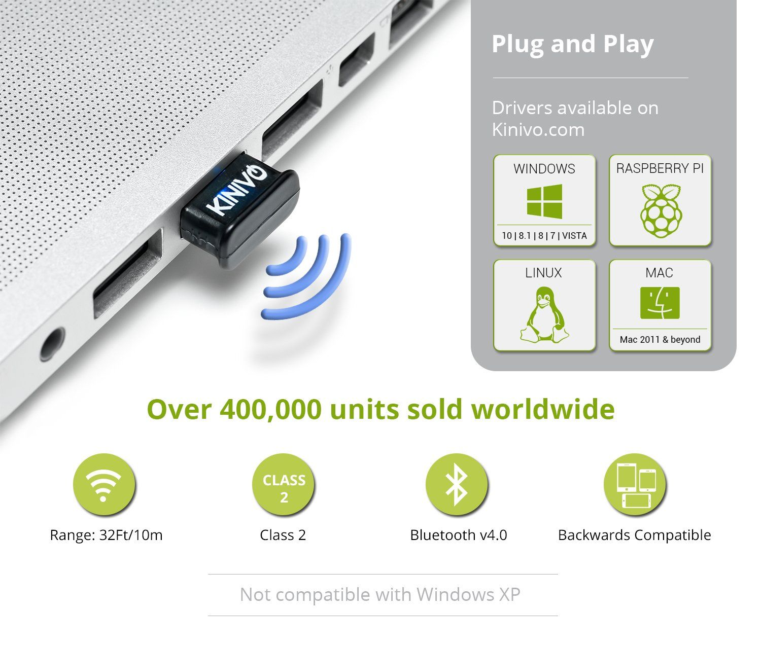 Works With Windows 10// 8.1//Linux. BTD-400 Bluetooth 4.0 Low Energy USB Adapter