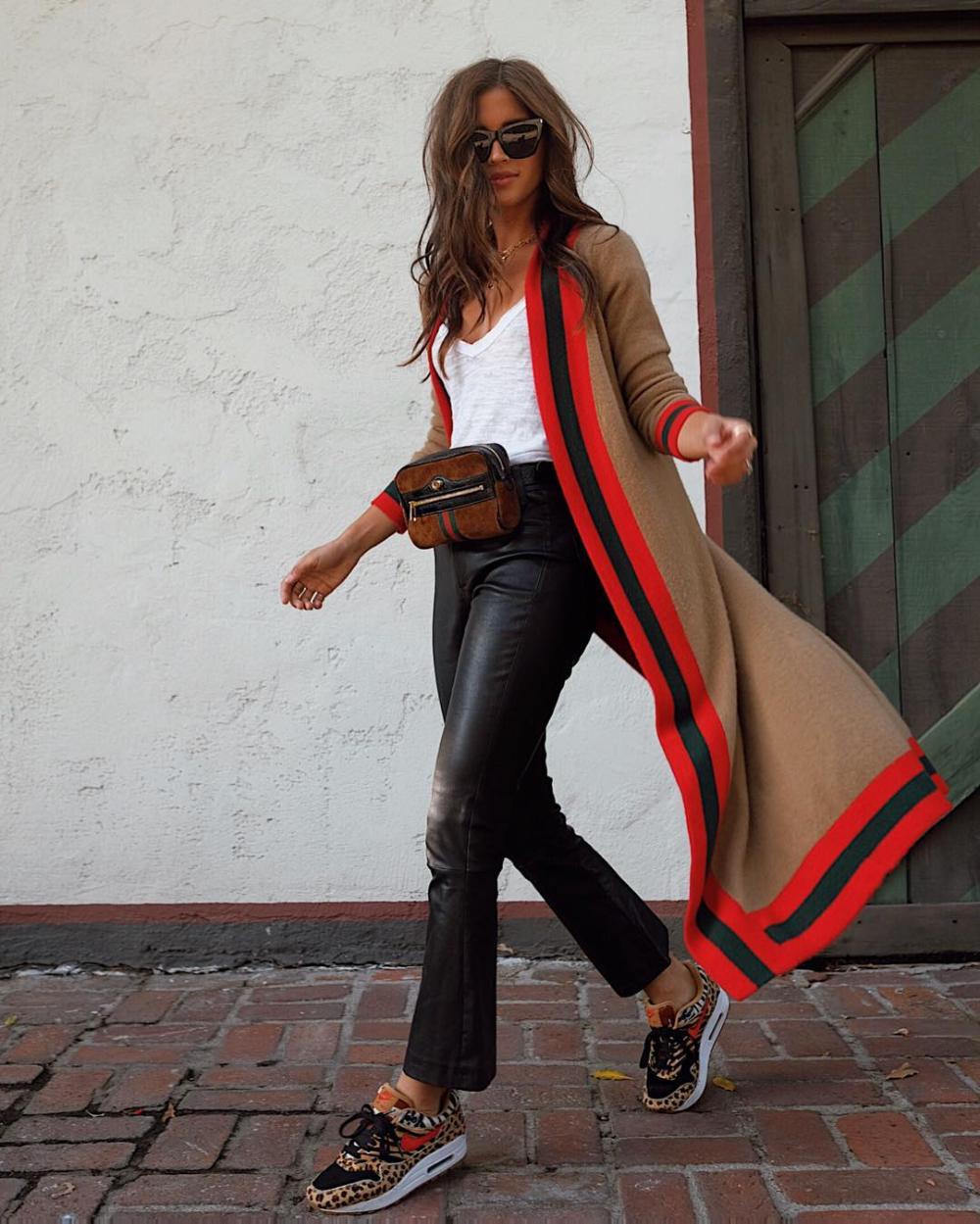 Fashion Splicing Stripe Long Sleeve Cardigan
