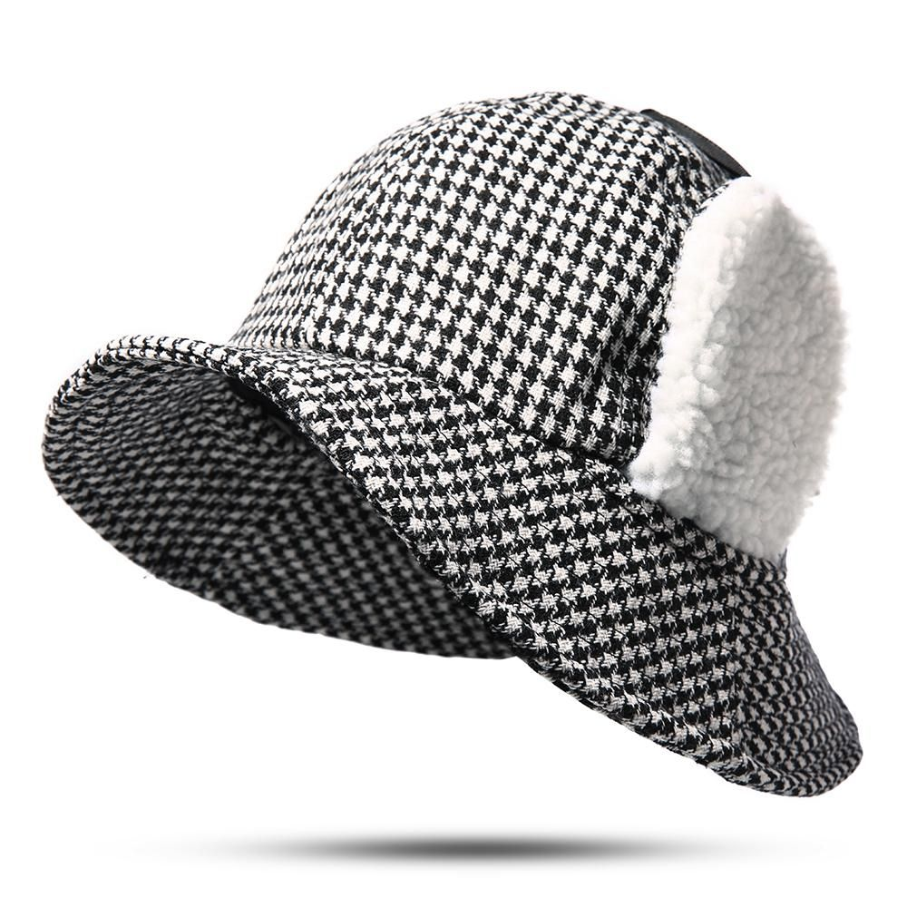 a5053db0 Women Cotton Plaid Wide Brimmed Earmuffs Bucket Cap in 2019 ...
